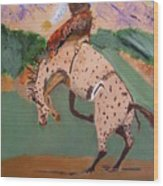 Bronco Rider On A Horse Wood Print