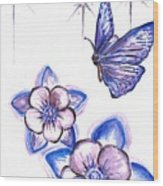 Butterfly Amongst The Flowers Wood Print
