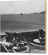 Cannons In Fort Aimed Harbor Circa 1865 Black Wood Print