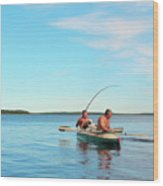 Canoe Fishing  On Blue Lake Wood Print