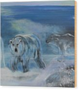 Carved Ice Polar Bears Wood Print