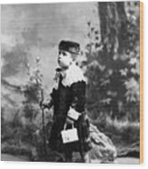 Child Kid In Fancy Velvet Outfit 1890s Black Wood Print