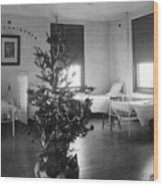 Christmas Tree In Hospital Ward 1923 Black White Wood Print