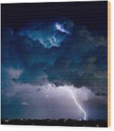 Clouds Of Light Lightning Striking Boulder County Colorado Wood Print