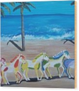 Colored Art Horses Wood Print