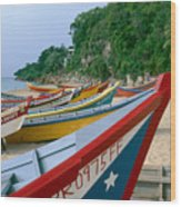 Colorful  Fishing Boats On Crashboat Beach Wood Print
