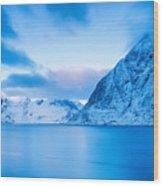 Cool Blue Dawn Over Mount Olstind Wood Print