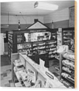 Counter In Drugstore 1959 Black White 1950s Wood Print