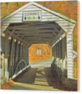 Covered Bridge Watercolor  Wood Print