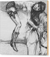 Cowgirl Riding A Hourse Wood Print