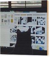 Critic Cat Wood Print