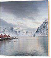 Dawn At Hamnoy On The Lofoten Islands Wood Print