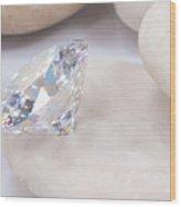 Diamond On White Stone Wood Print