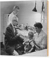 Doctor Giving Toddler Shot 1958 Black White Baby Wood Print