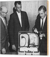 Doctors Looking Heart Circa 1960 Black White Wood Print