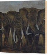 Elephant Herd Hurrying For A Drink Wood Print