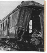 Exploded Train Car Robbery October 1923 Black Wood Print
