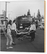 Fire Department Rescue Circa 1960 Black White Wood Print