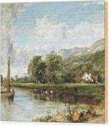 Fishing On The Estuary Wood Print