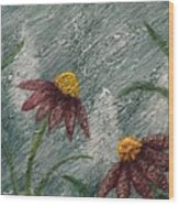 Flowers In The Breeze Wood Print