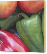 Fresh Peppers And Tomatoes Wood Print