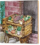 Fruit And Vegetable Stand In Nice, France Wood Print
