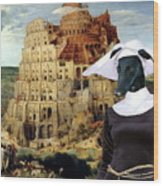 Galgo Espanol - Spanish Greyhound Art Canvas Print -the Tower Of Babel  Wood Print