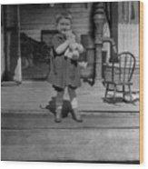 Girl Hugging Stuffed Animal Porch 1920s Black Wood Print