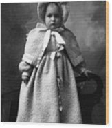 Girl Posing In Winter Coat 1903 Black White Wood Print