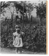 Girl Tomato Patch 1950s Black White Archive Kids Wood Print