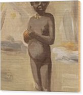 Girl With Orange In Cairo Wood Print
