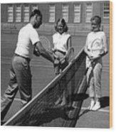 Girls Getting Tennis Lesson Circa 1960 Black Wood Print