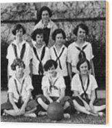 Girls High School Basketball Team 1910s Black Wood Print