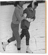 Girls Ice Skating Circa 1960 Black White 1950s Wood Print