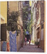 Greece. Venetian Street In Corfu Old Town. Wood Print