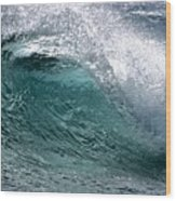Green Cresting Wave, Hawaii Wood Print