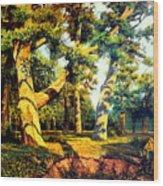 Green Summer-the Oak Forest Wood Print