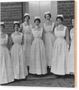 Group Nurses 19151916 Black White 1910s 1915 Wood Print