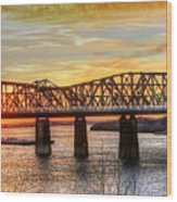 Harahan Bridge In Memphis,tennessee At Sunset Wood Print