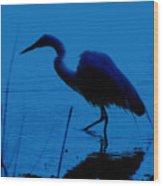Heron In Water Wood Print