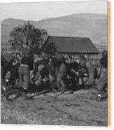 High School Football Game 1912 Black White 1910s Wood Print