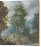 Hunting With Hounds Wood Print