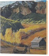 I Will Lift Up My Eyes To The Hills Autumn Nostalgia  Wilson Peak Colorado Wood Print