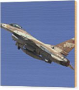 Iaf F-16a Fighter Jet On Blue Sky Wood Print