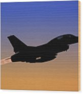 Iaf F-16b Fighter Jet At Sunset Wood Print
