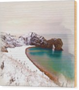 Illustration Of  The Durdle Door In Snow Wood Print