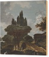 Italian Landscape With Stairs Wood Print
