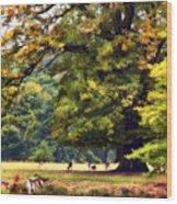 Landscape Under A Big Oak In Autumn Wood Print