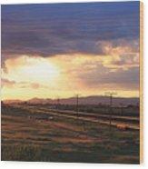 Last Light On The Railroad Wood Print