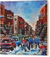 Late Afternoon Street Hockey Wood Print